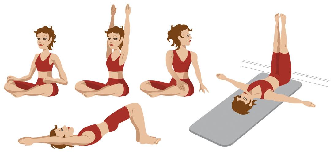 Illustrationen von Yoga-Übungen